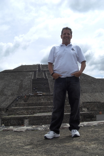 Roger Anthony poses in Teotihuacan, Mexico